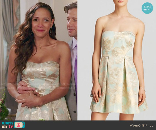 Aqua Floral Foil Print Pleated Skirt Mini Dress worn by Dania Ramirez on Devious Maids