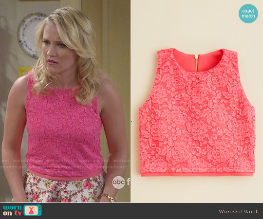 Aqua Floral Lace Tank worn by Emily Osment on Young & Hungry