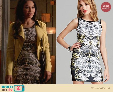 Aqua Floral Leaf Print Scuba Bodycon Dress worn by Naya Rivera on Glee