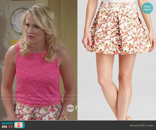 Aqua Floral Pleated Bandage Skirt worn by Gabi Diamond on Young & Hungry