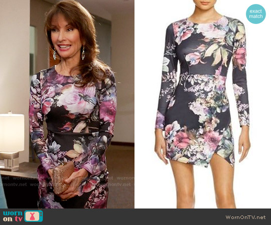 Aqua Floral Scuba Dress worn by Susan Lucci on Devious Maids