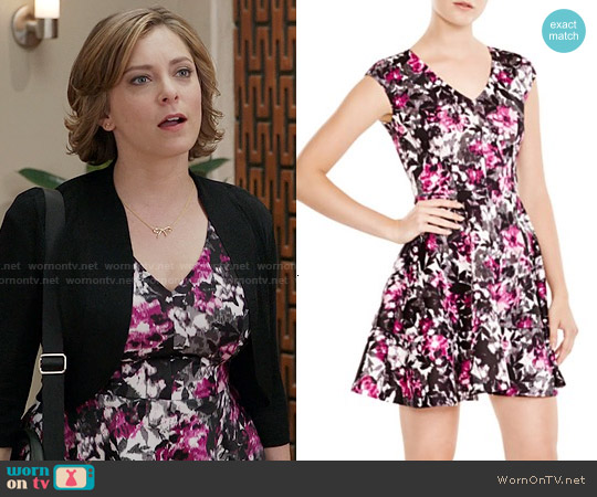 Aqua Floral V Neck Scuba Dress worn by Rachel Bloom on Crazy Ex-Girlfriend