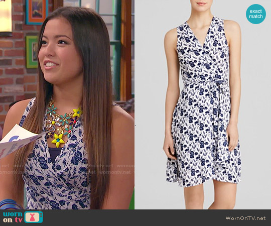 Aqua Flower Fields Wrap Dress worn by Piper Curda on IDDI