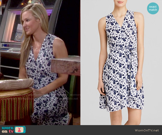 Aqua Flower Fields Wrap Dress worn by Sharon Case on The Young & the Restless