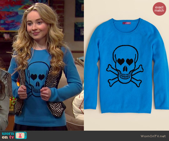 Aqua Girls Cashmere Skull Sweater worn by Sabrina Carpenter on Girl Meets World