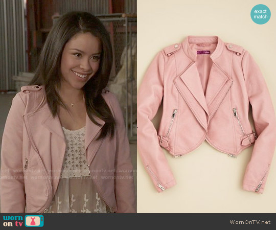 Aqua Girls' Faux Leather Jacket worn by Cierra Ramirez on The Fosters