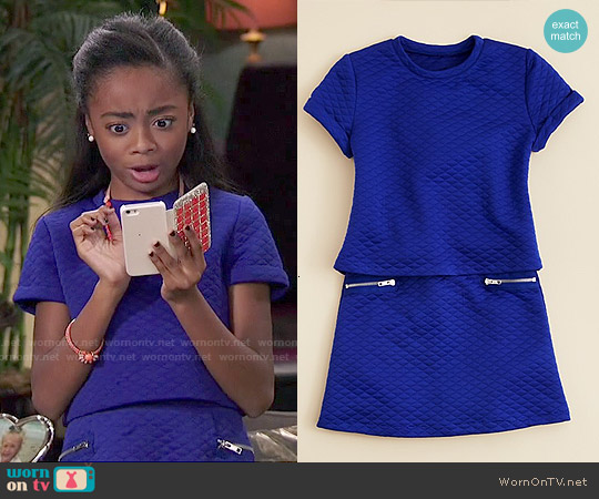Aqua Girls' Quilted Crop Top & A Line Skirt worn by Skai Jackson on Jessie
