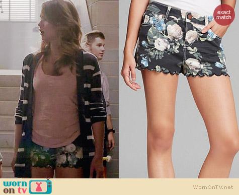 Aqua Jordan Rose Floral Denim Shorts worn by Shelley Hennig on Teen Wolf