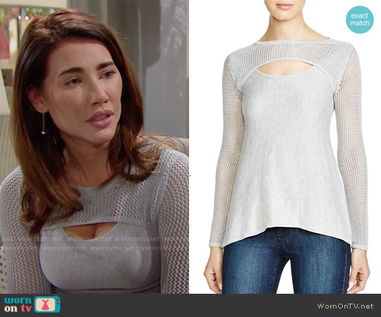 Aqua Lena Pointelle Trim Sweater worn by Jacqueline MacInnes Wood on The Bold & the Beautiful