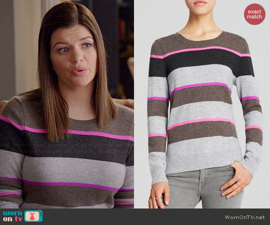 Aqua Multi Stripe Cashmere Sweater worn by Casey Wilson on Marry Me
