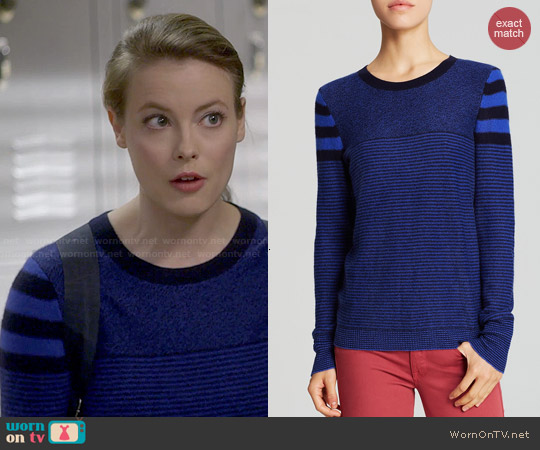 Aqua Multi Stripe Cashmere Sweater worn by Gillian Jacobs on Community