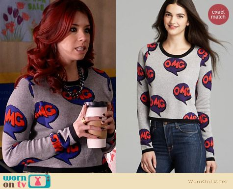Aqua OMG Pop Art Crop Sweater worn by Jillian Rose Reed on Awkward
