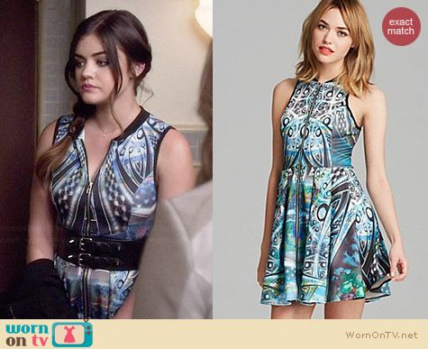 Aqua Paisley Print Scuba Zip Front Racerback Dress worn by Lucy Hale on PLL