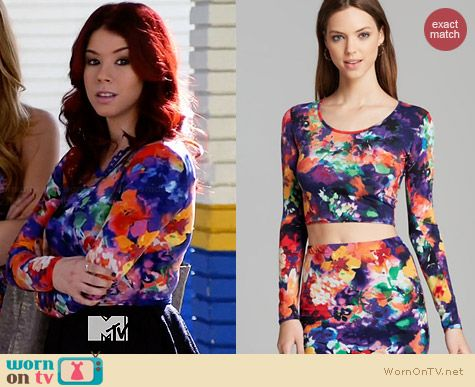 Aqua Photo Print Ballet Crop Top worn by Jillian Rose Reed on Awkward