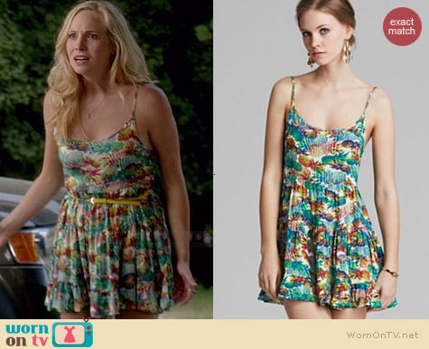 Aqua Pineapple Express Tiered Cami Dress worn by Candice Accola on The Vampire Diaries