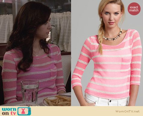 Aqua Pink Striped Three Quarter Pocket Tee worn by Maggie Landers on The Carrie Diaries