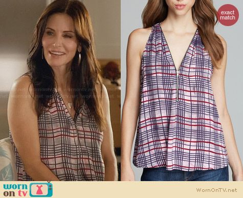Aqua Plaid Zip Neck Top worn by Courtney Cox on Cougar Town