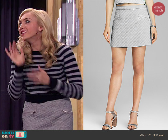 Aqua Quilted Mini Skirt worn by Peyton List on Jessie
