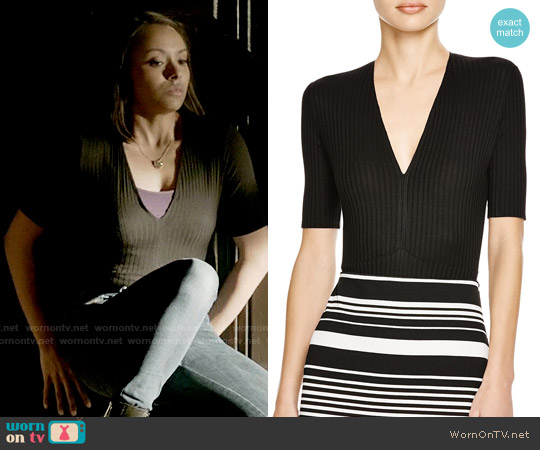 Aqua Ribbed V-neck Bodysuit worn by Kat Graham on The Vampire Diaries
