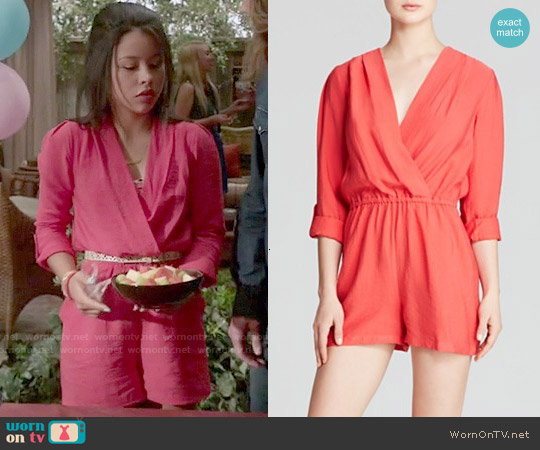 Aqua Roll Sleeve Crinkle Romper worn by Cierra Ramirez on The Fosters