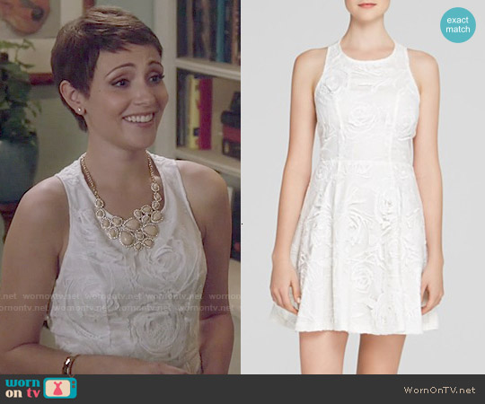 Aqua Rose Embroidered Dress worn by Italia Ricci on Chasing Life