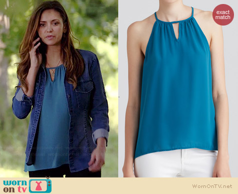 Aqua Sleeveless Keyhole Top worn by Nina Dobrev on The Vampire Diaries