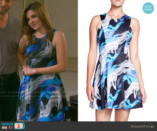 Aqua Smoke Scuba Dress worn by Jen Lilley on Days of our Lives