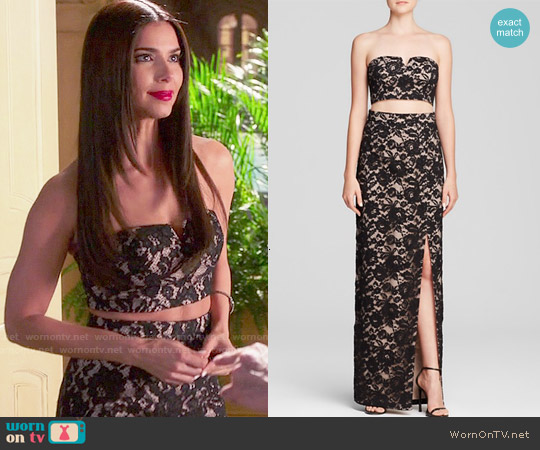 Aqua Strapless Lace Gown worn by Roselyn Sanchez on Devious Maids