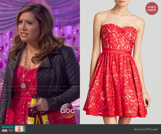 Aqua Sweetheart Neck Strapless Dress worn by Cristela Alonzo on Cristela