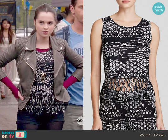 Aqua Tie-Dye Fringe Tank worn by Vanessa Marano on Switched at Birth