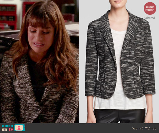 Aqua Tweed Knit Blazer worn by Rachel Berry on Glee