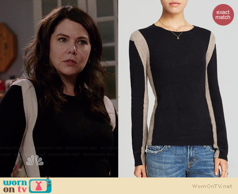 Aqua Vertical Colorblock Cashmere Sweater worn by Lauren Graham on Parenthood