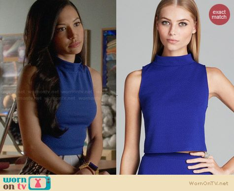 Aqua Weave Texture Mock Neck Crop worn by Naya Rivera on Glee