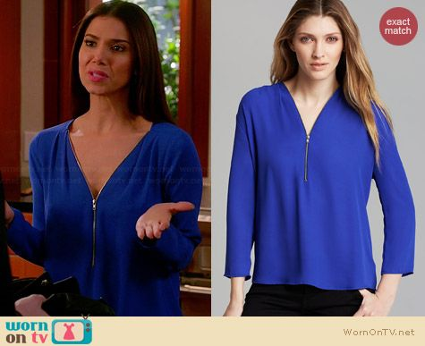 Aqua Zipper Blouse worn by Roselyn Sanchez on Devious Maids