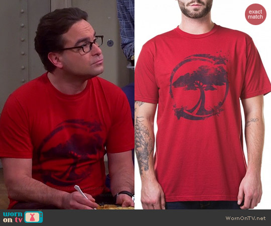 Arbor Recycle T-shirt in Red worn by Johnny Galecki on The Big Bang Theory