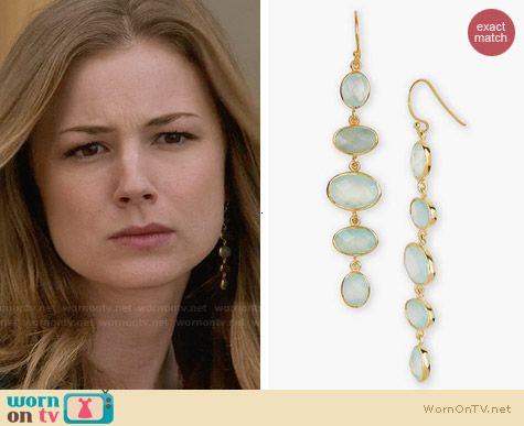 Argent Vivo Stone Linear Earrings in Gold/Aqua worn by Emily VanCamp on Revenge