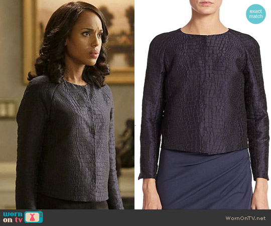 Armani Collezioni Croc-Embossed Taffeta Jacket worn by Kerry Washington on Scandal