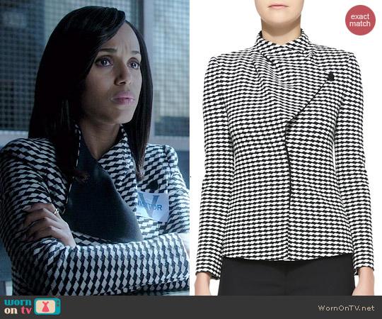 Armani Collezioni Jacquard Asymmetric Front Jacket worn by Kerry Washington on Scandal