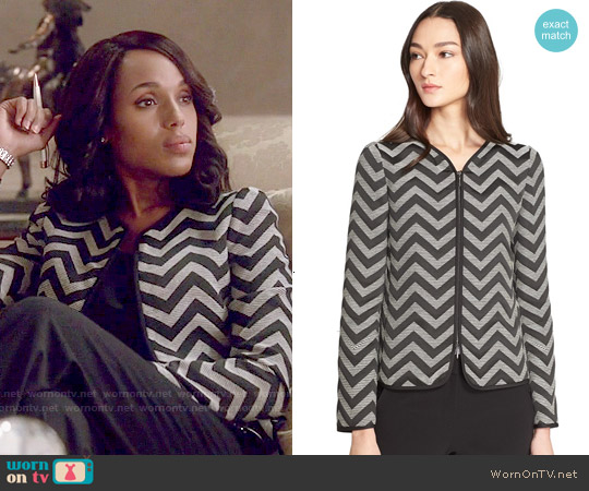 Armani Collezioni Chevron Tailored Zip Front Jacket worn by Kerry Washington on Scandal