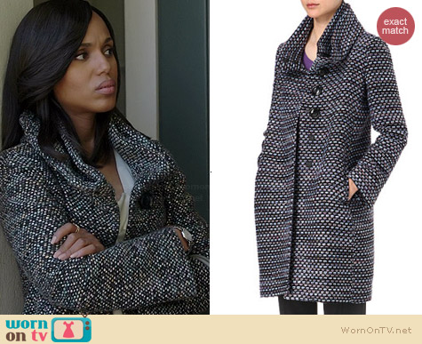 Armani Double Funnel Neck Tweed Coat worn by Kerry Washington on Scandal