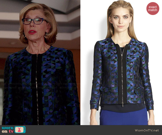 Armani Collezioni Harlequin Jacquard Jacket worn by Christine Baranski on The Good Wife