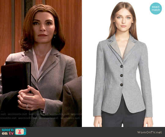 Armani Collezioni Herringbone Jacket worn by Julianna Margulies on The Good Wife