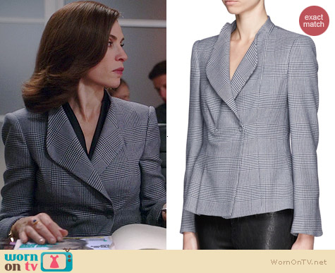 Armani Collezioni Houndstooth Plaid Jacket worn by Julianna Margulies on The Good Wife