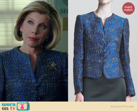 Armani Collezioni Lurex Tweed Jacket worn by Christine Baranski on The Good Wife