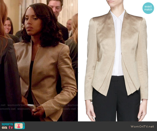 Armani Collezioni Triple Layer Hem Wool Blend Jacket worn by Kerry Washington on Scandal