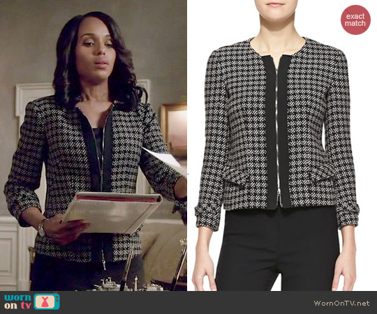 Armani Collezioni Tweed Zip-Front Jacket worn by Kerry Washington on Scandal