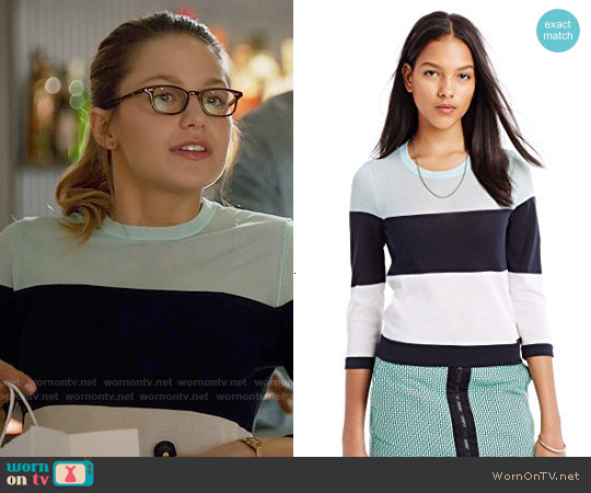 Armani Exchange Colorblock Pullover worn by Melissa Benoist on Supergirl