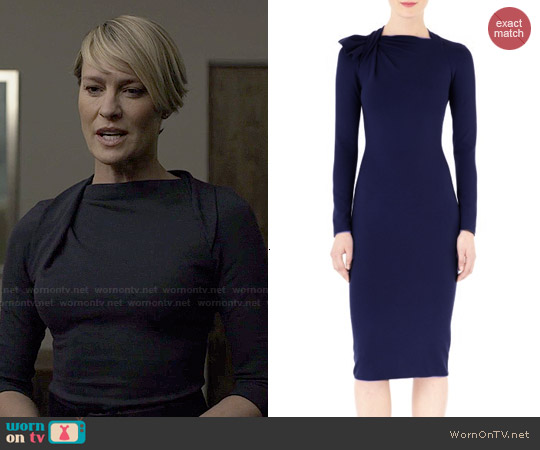 Armani Twist Neck Long Sleeve Dress worn by Robin Wright on House of Cards