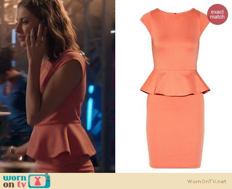 Arrow Fashion: Alice + Olivia Victoria Peplum Dress in Papaya worn by Willa Holland
