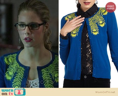 Arrow Fashion: Anthropologie Limabird cardigan worn by Emily Bett Rickards